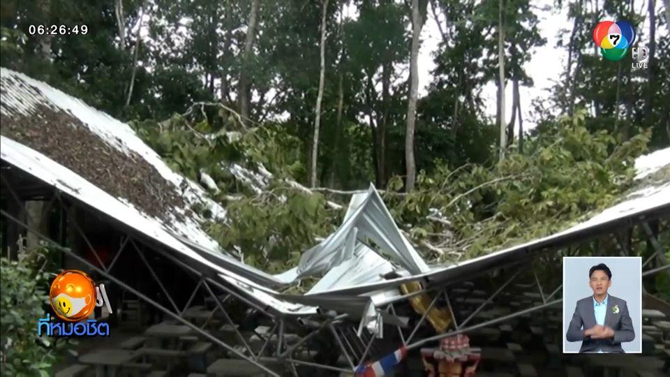 พายุพัดต้นไม้ใหญ่ ล้มทับโรงทานวัดพังถล่ม พระ-เณร หนีกระเจิง