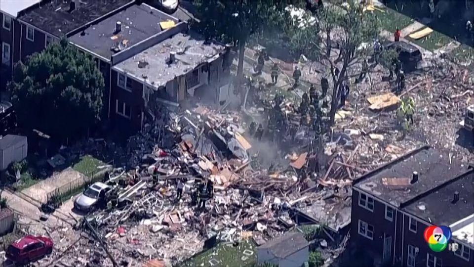 เหตุก๊าซระเบิดในสหรัฐฯ ตึกแถวหลายหลังพังเสียหาย