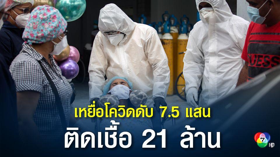 อ่วม! ประชากรโลกป่วยโรคโควิด-19 ทะลุ 21 ล้าน เสียชีวิตกว่า 7.5 แสน