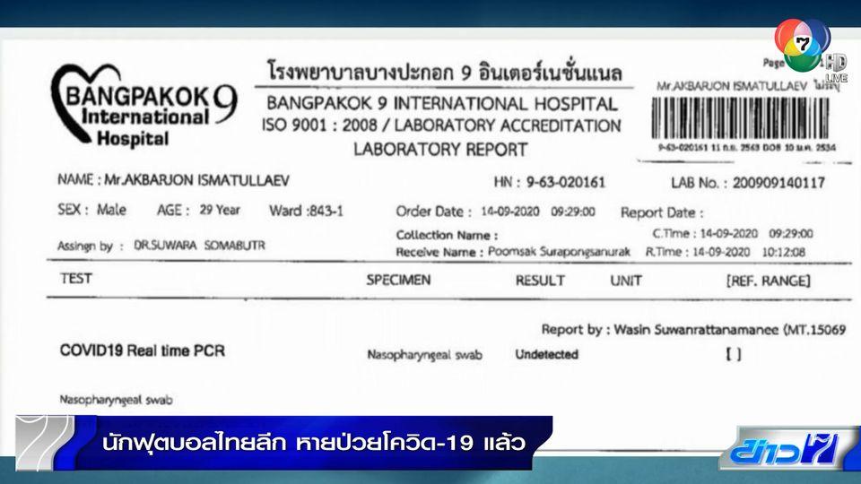 นักฟุตบอลไทยลีกหายป่วยโควิดแล้ว ผลตรวจคนใกล้ชิด 508 คน ยังไม่พบผู้ติดเชื้อ
