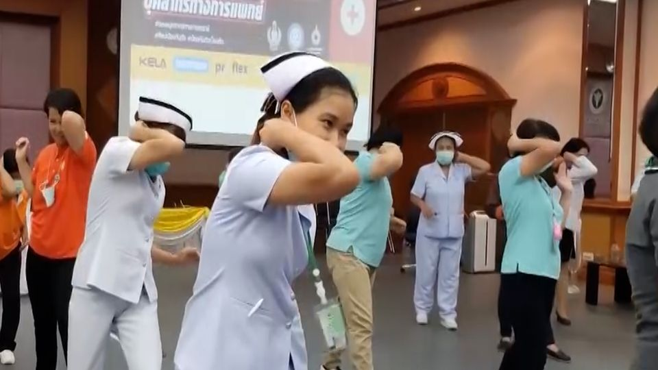 หมอ-พยาบาล ฝึกศิลปะต่อสู้ป้องกันตัว รับมือเหตุรุนแรงในโรงพยาบาล