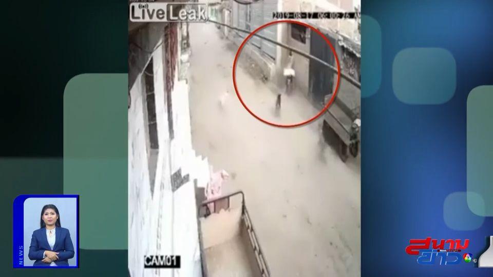 ภาพเป็นข่าว : ขี่รถ จยย.หนีสุนัข เสียหลักพุ่งชนกำแพงดังสนั่น