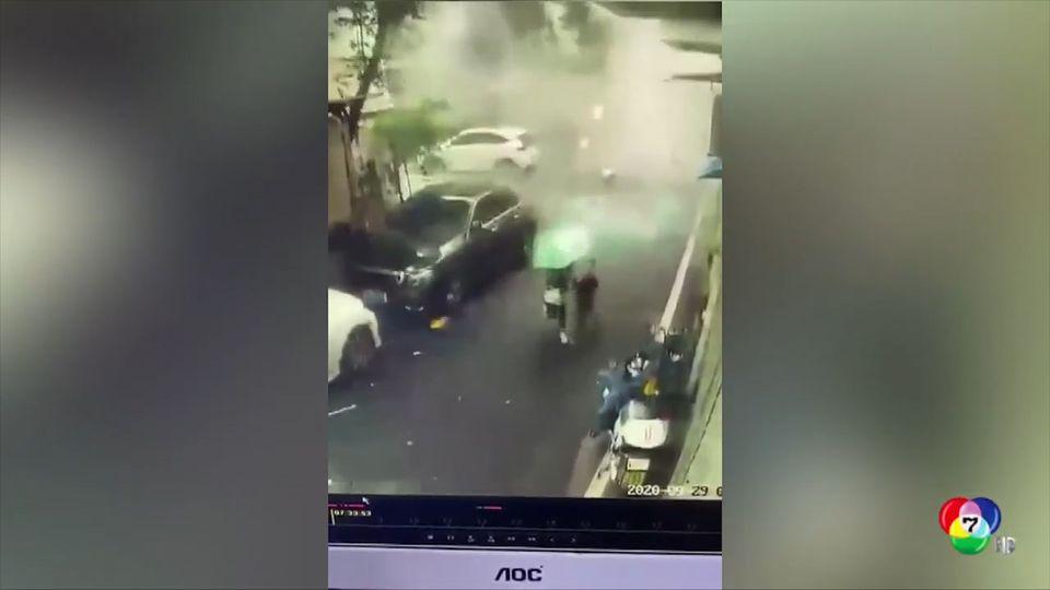 ระทึก! แม่-ลูกชาวจีนรอดชีวิตจากเหตุระเบิดร้านอาหารหวุดหวิด