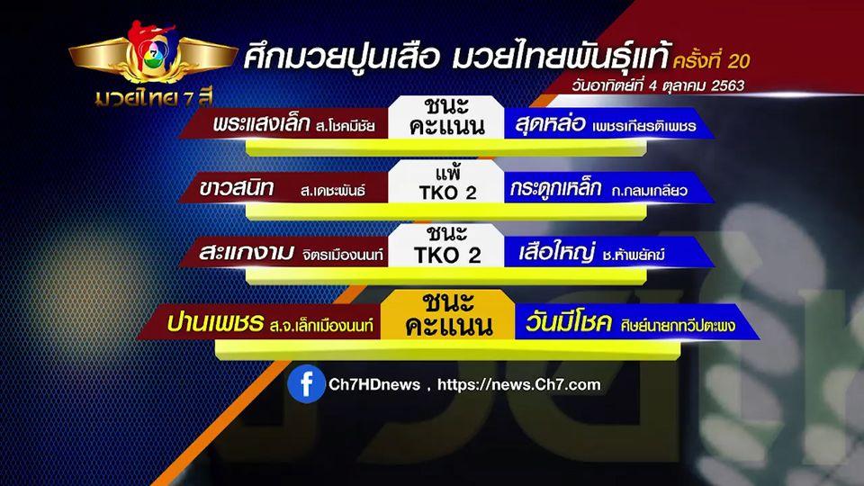 มวยเด็ด วิกหมอชิต : ผลมวยไทย 7 สี 4 ต.ค.63 ขาวสนิท ส.เดชะพันธ์ vs กระดูกเหล็ก ก.กลมเกลียว