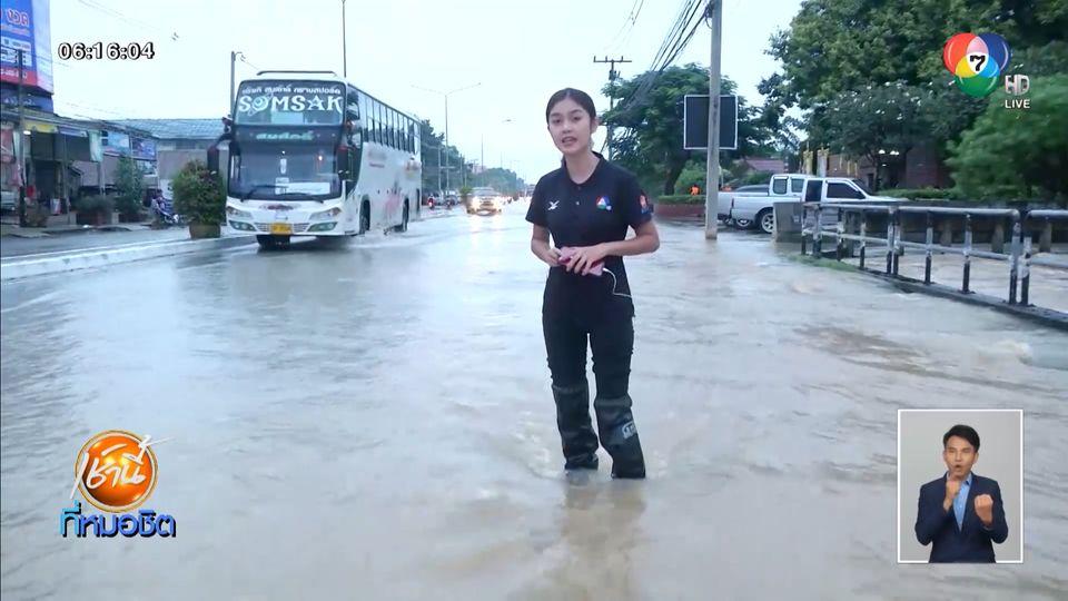 น้ำทะลักท่วมถนนหลายจุด ในพื้นที่ อ.ปักธงชัย จ.นคราชสีมา