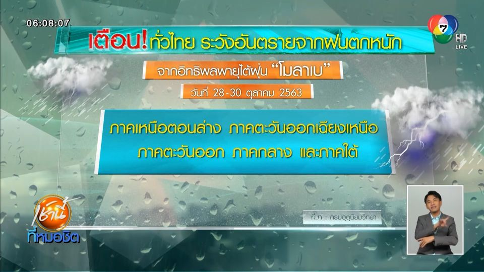 เตือนทั่วไทย ระวังฝนตกหนัก น้ำท่วม น้ำป่าไหลหลาก จากพายุไต้ฝุ่นโมลาเบ
