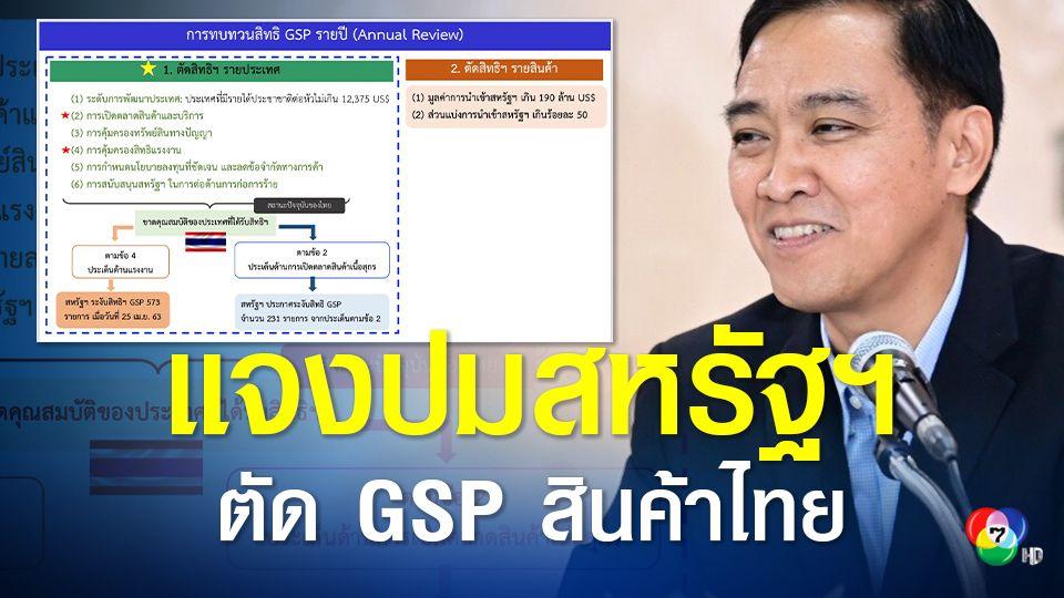 พาณิชย์แจงปมสหรัฐฯ ตัดสิทธิ GSP สินค้าไทยกว่า 200 รายการ