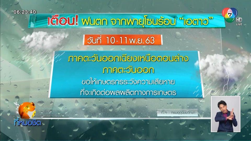 เตือน 10-11 พ.ย.นี้ พายุโซนร้อน เอตาว ทำฝนตกอีสานตอนล่าง และภาคตะวันออก