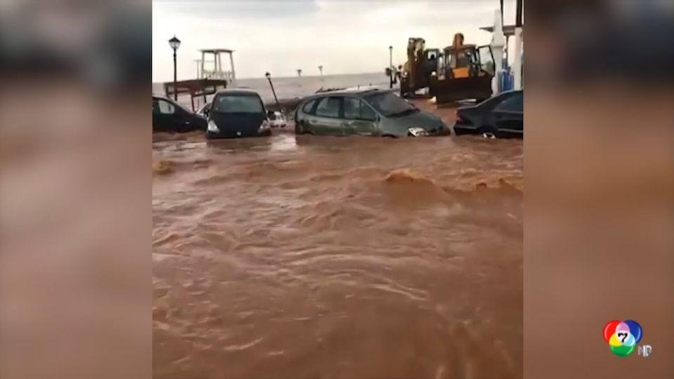 เกิดน้ำท่วมหนักบนเกาะครีตในกรีซ ถนนหลายสายถูกตัดขาด