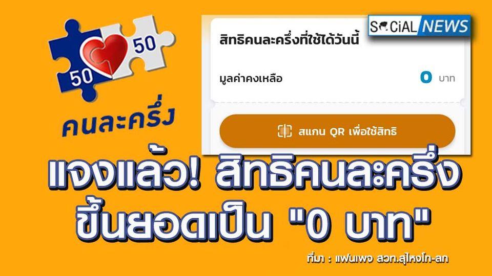 """กรุงไทยแจงปัญหา! สิทธิคนละครึ่งขึ้นยอดเป็น """"0 บาท"""" ทั้งที่ยังไม่ได้ใช้จ่าย"""