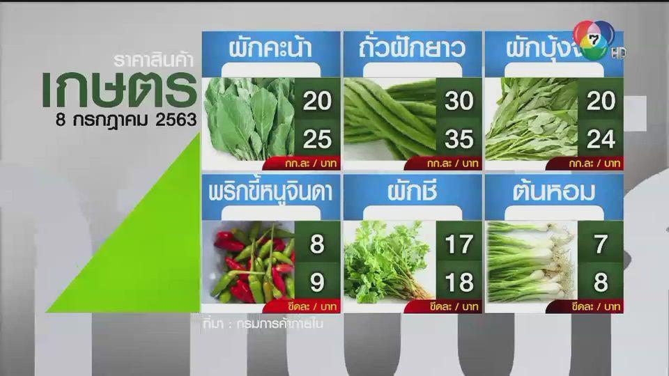 ราคาสินค้าเกษตรที่สำคัญ 8 ก.ค. 2563