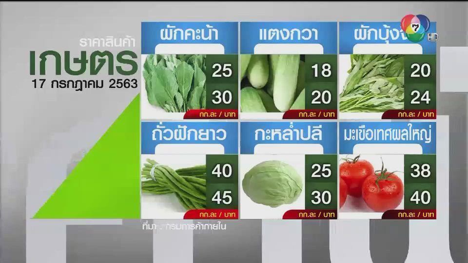 ราคาสินค้าเกษตรที่สำคัญ 17 ก.ค. 2563