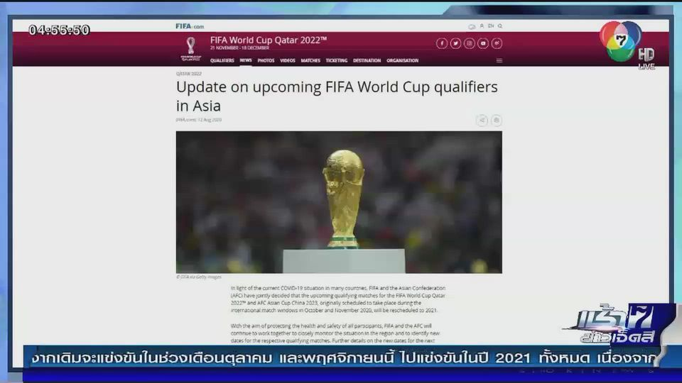 ฟีฟ่า ประกาศเลื่อนการแข่งขันฟุตบอลโลก รอบคัดเลือก ออกไปเป็นปีหน้า