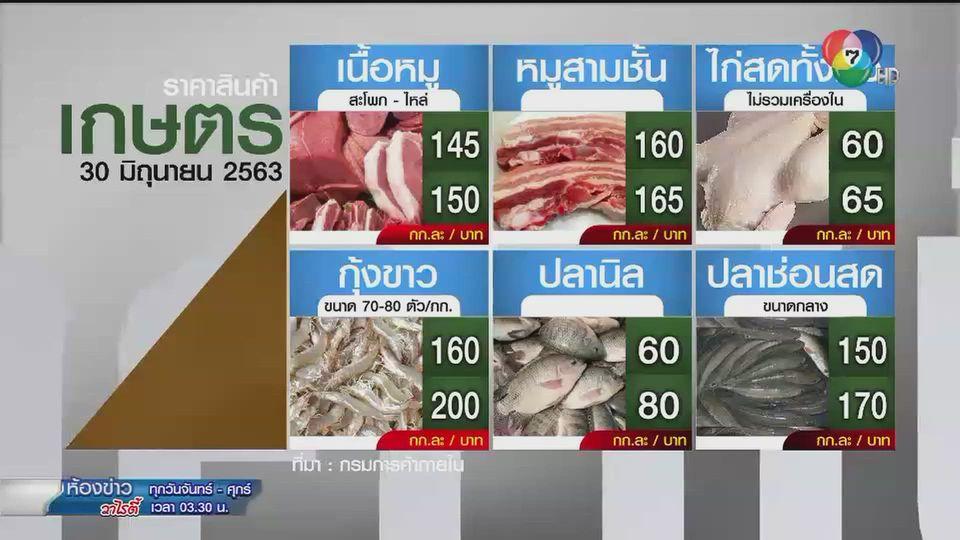 ราคาสินค้าเกษตรที่สำคัญ 30 มิ.ย. 2563