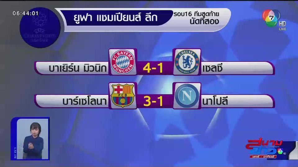 ผลฟุตบอลยูฟ่าแชมเปี้ยนส์ ลีก รอบ 16 ทีมสุดท้าย นัดที่ 2
