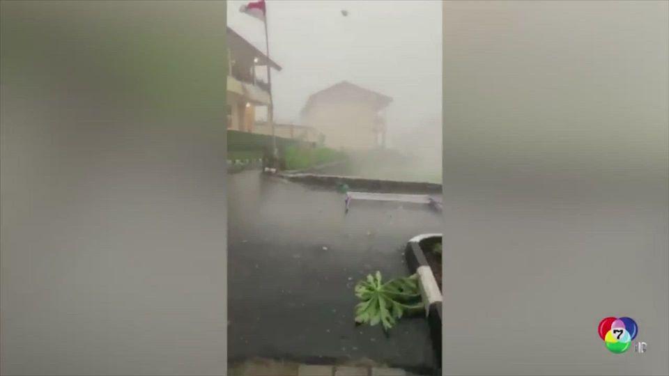 พายุลูกเห็บพัดถล่มที่อินโดนีเซีย ลมกระโชกแรง-ฝนตกหนัก