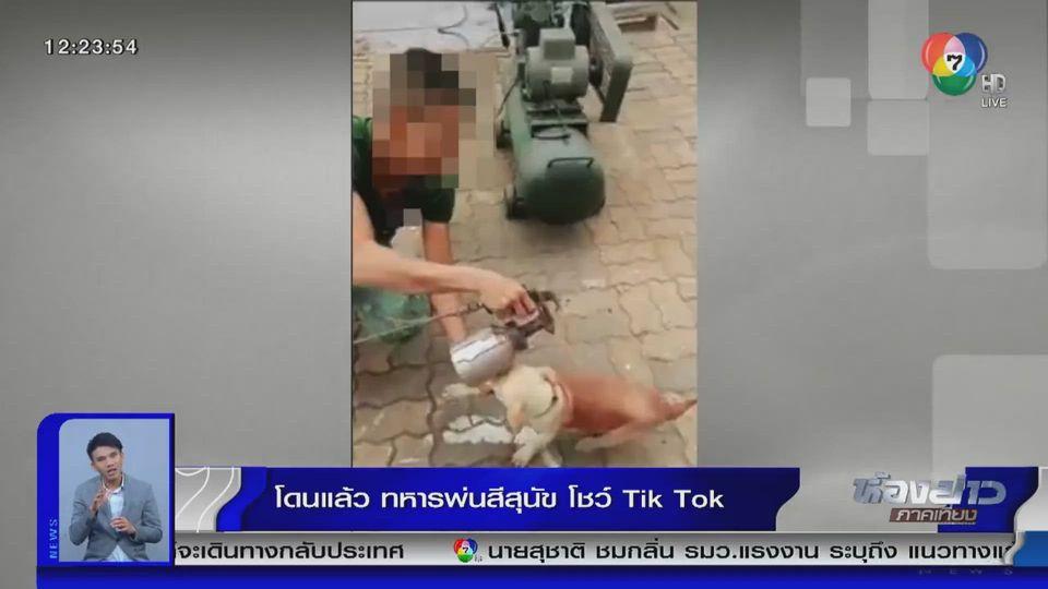 แชร์สนั่นโซเชียล : โดนแล้ว ทหารนำสเปรย์สีไปฉีดพ่นลูกสุนัข โชว์ลง TikTok
