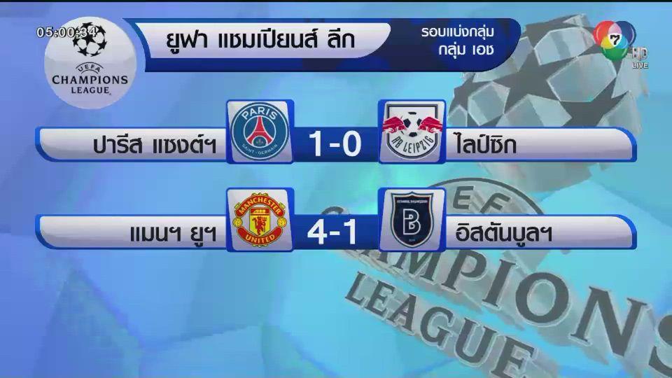 ผลฟุตบอลยูฟ่า แชมเปี้ยนส์ ลีก รอบแบ่งกลุ่ม นัดที่ 4 เชลซี-แมนฯ ยูฯ ชนะ