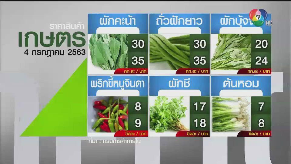 ราคาสินค้าเกษตรที่สำคัญ 4 กรกฎาคม 2563