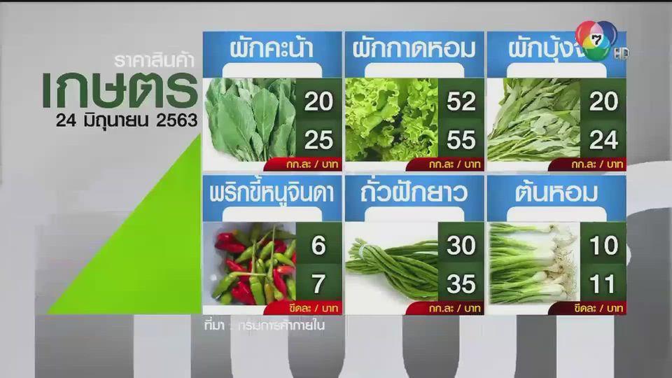 ราคาสินค้าเกษตรที่สำคัญ 24 มิ.ย. 2563