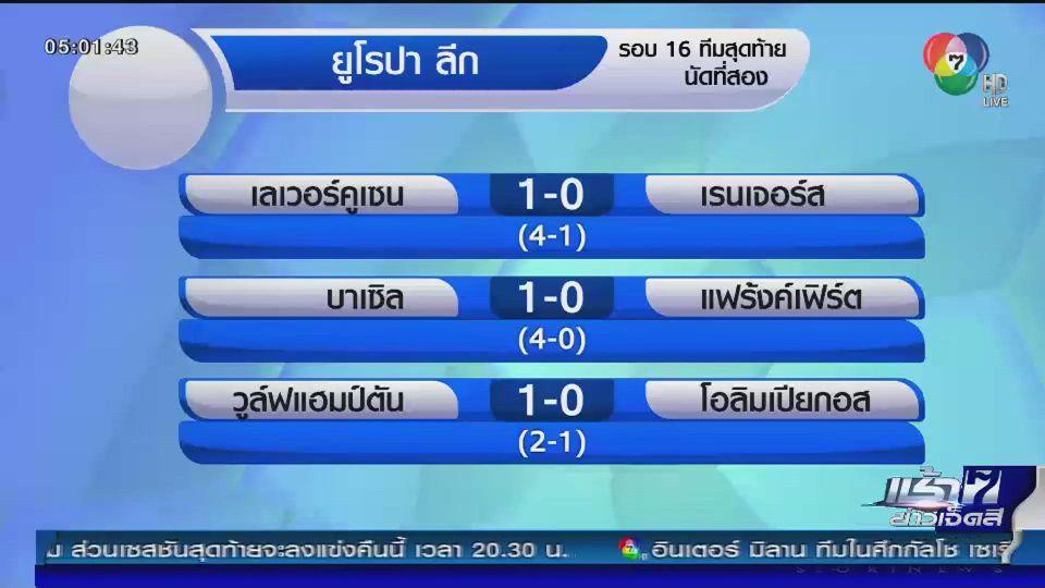 ผลฟุตบอลยูโรปา ลีก รอบ 16 ทีมสุดท้าย นัดที่ 2