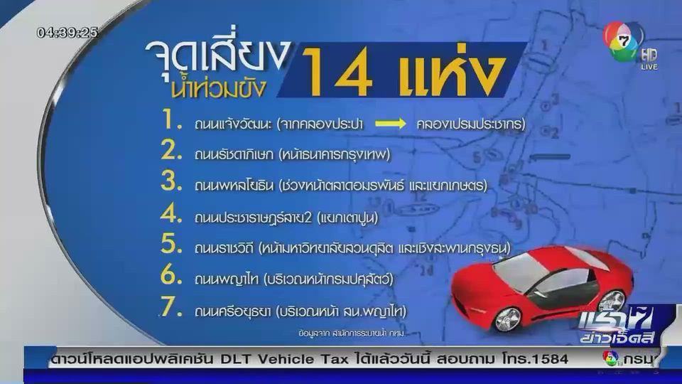 เปิด 14 จุดเสี่ยงน้ำท่วม กทม. เตรียมรับดีเปรสชันช่วง 1-2 วันนี้
