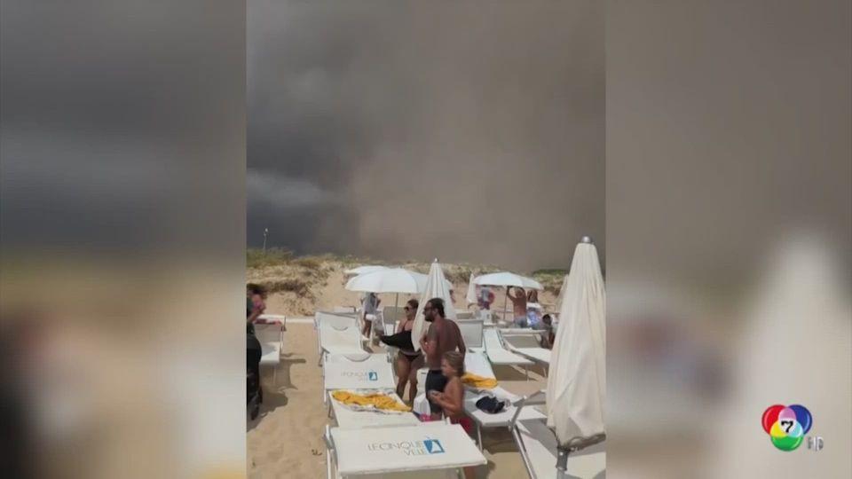 เผยภาพนักท่องเที่ยววิ่งหนีทอร์นาโดบริเวณริมหาดในอิตาลี