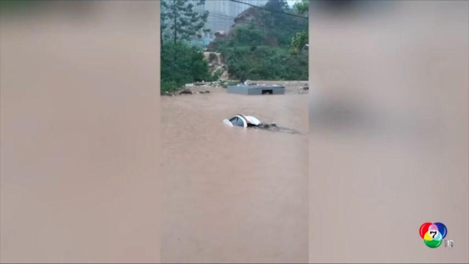 พายุพัดกระหน่ำ ทำให้น้ำท่วมสูง 4 เมตร ในจีน