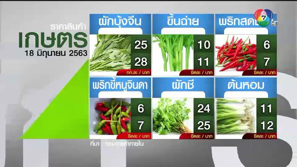 ราคาสินค้าเกษตรที่สำคัญ 18 มิ.ย. 2563