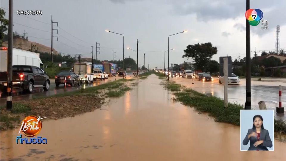 ฝนถล่ม จ.สงขลา กว่า 3 ชั่วโมง น้ำหลากท่วมถนนสายเอเชีย