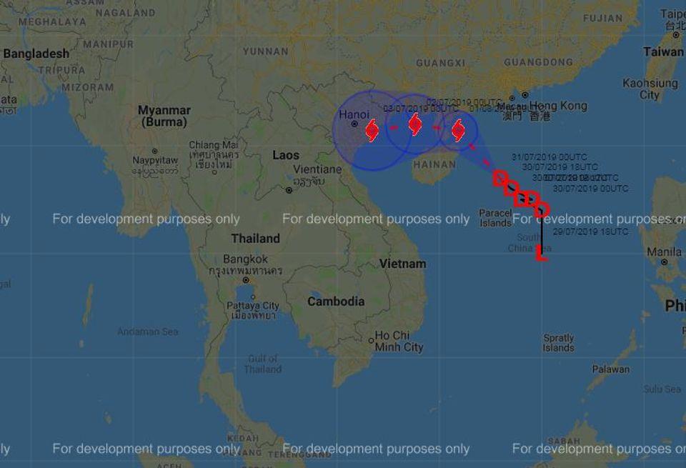 เตือน พายุโซนร้อนพายุวิภามีกำลังแรง เคลื่อนจากทะเลจีนไปเกาะไหหลำ