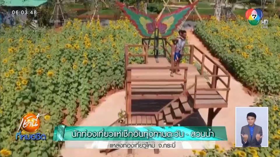 นักท่องเที่ยวแห่เช็กอินทุ่งทานตะวัน-สวนน้ำ แหล่งท่องเที่ยวใหม่ จ.กระบี่
