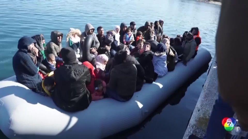 ประชาชนชาวกรีซบนเกาะเลสบอส ปฎิเสธให้เรือผู้อพยพขึ้นฝั่ง
