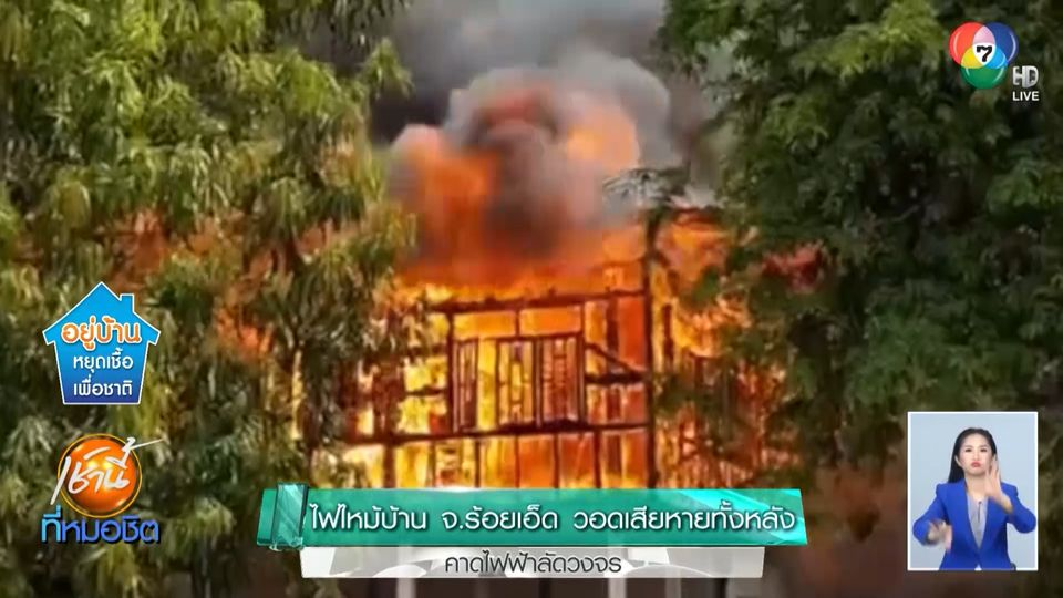 ไฟไหม้บ้าน จ.ร้อยเอ็ด วอดเสียหายทั้งหลัง คาดไฟฟ้าลัดวงจร