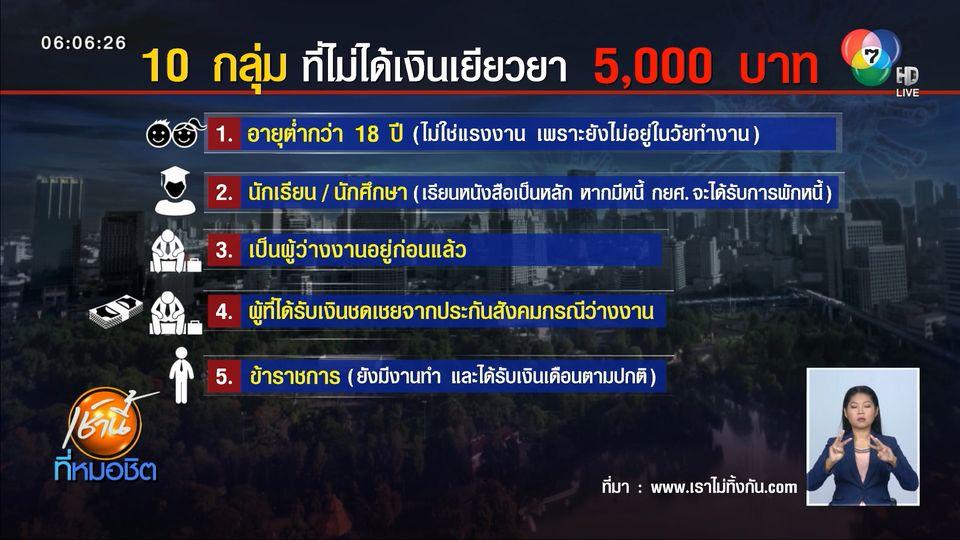 10 กลุ่ม ที่ไม่ได้รับเงินเยียวยา 5,000 บาท