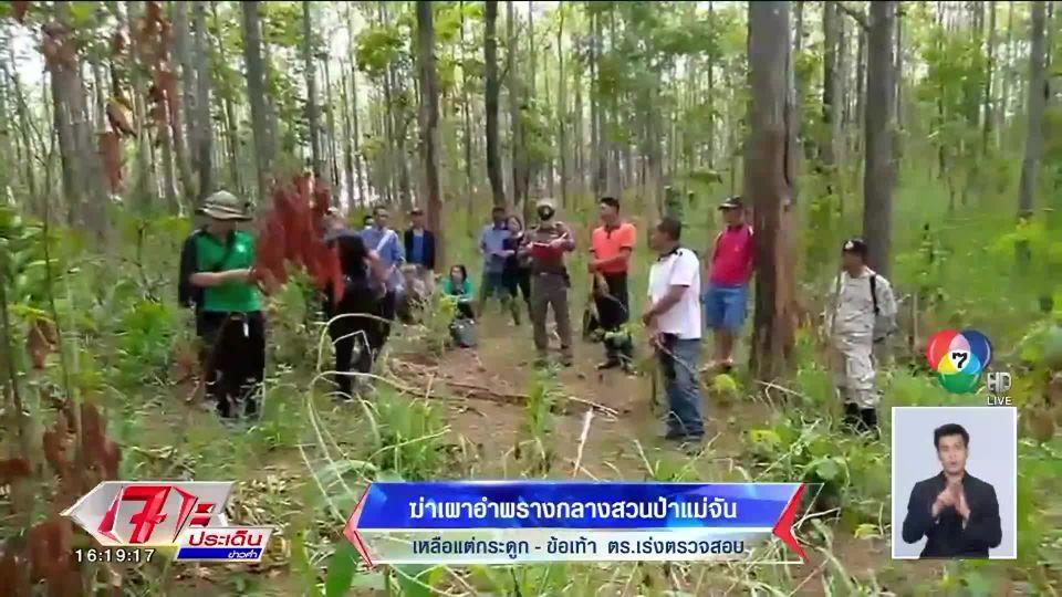 รุดตรวจสอบ คดีฆ่าเผาอำพรางกลางสวนป่าแม่จัน พบเหลือแต่กระดูก-ข้อเท้า