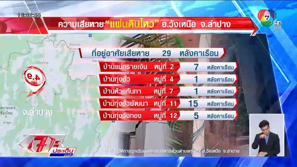 แผ่นดินไหวลำปาง 2 วัน 26 ครั้ง บ้านเรือนเสียหาย 29 หลัง ผู้ว่าฯสั่งเฝ้าระวัง