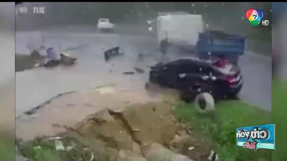 เรื่อง Hot Social Hit : รถพ่วงเบรกกะทันหัน อีกคันหักหลบจนชน