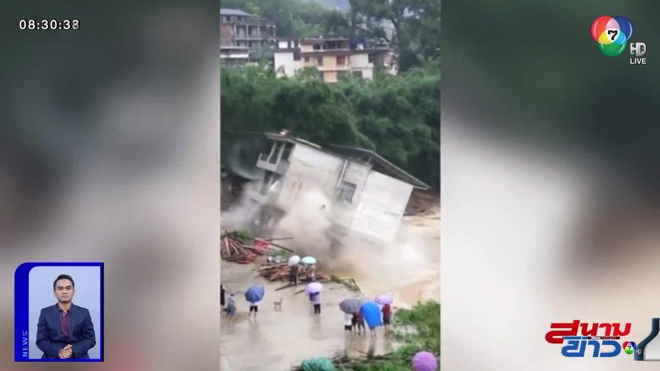 ภาพเป็นข่าว : ระทึก! อาคาร 4 ชั้น ถล่มลงแม่น้ำ เคราะห์ดีคนที่อยู่ข้างในอพยพออกมาทัน
