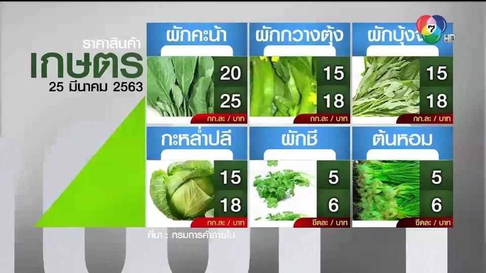 ราคาสินค้าเกษตรที่สำคัญ 25 มี.ค. 2563