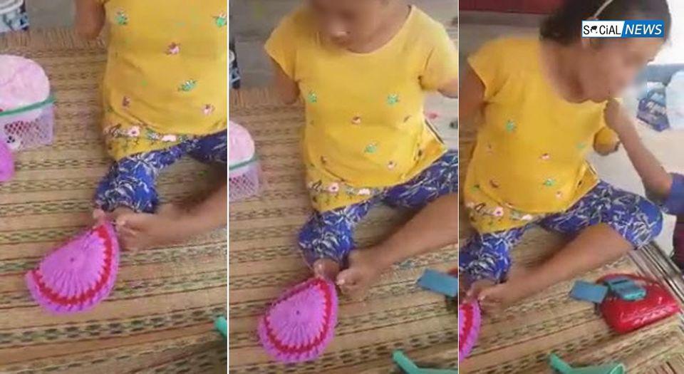 กำลังใจเต็มเปี่ยม! หญิงพิการแขน ใช้สองเท้าถักโครเชต์ มีเด็กชายตัวน้อยอยู่เคียงข้าง