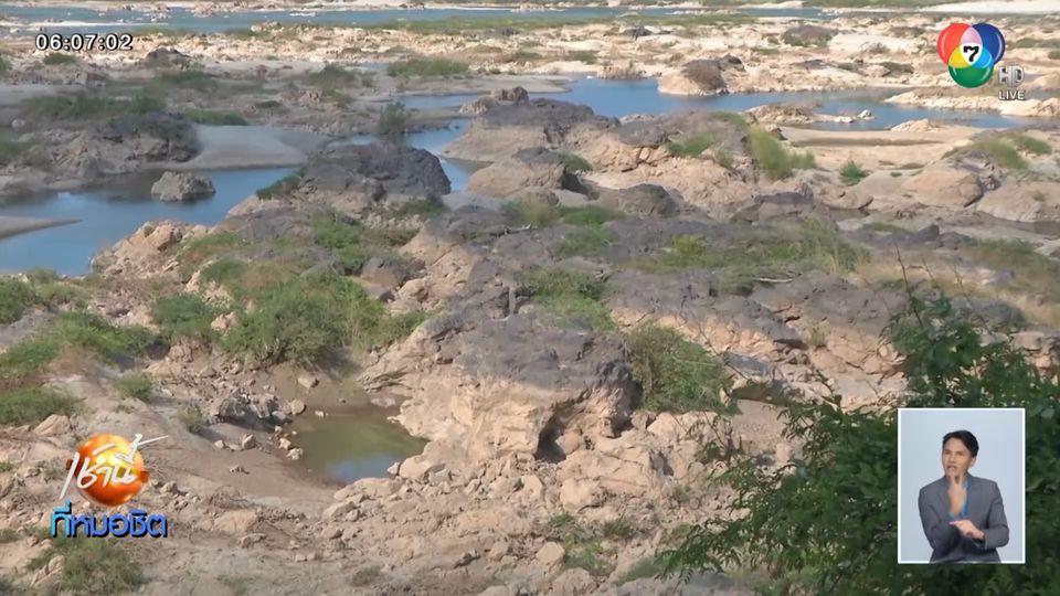 พันโขดแสนไคร้โผล่กลางแม่น้ำโขง ชาวบ้านเผยแล้งหนักสุดในรอบ 30 ปี