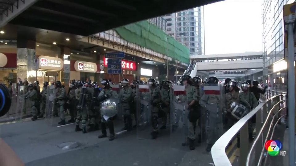 คืบหน้าสถานการณ์ชุมนุมประท้วงฮ่องกง ปิดถนน-จุดไฟเผาสิ่งของกลางถนน