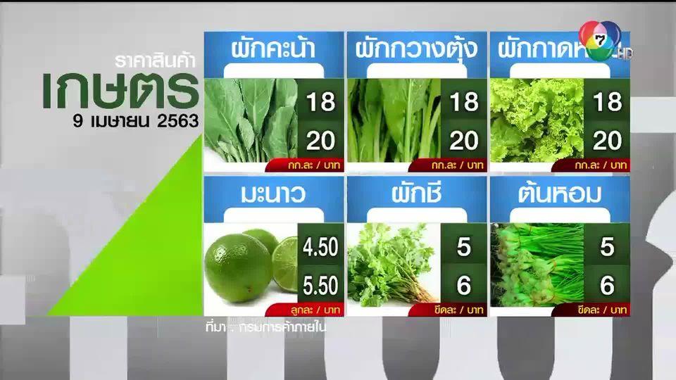 ราคาสินค้าเกษตรที่สำคัญ 9 เม.ย. 2563