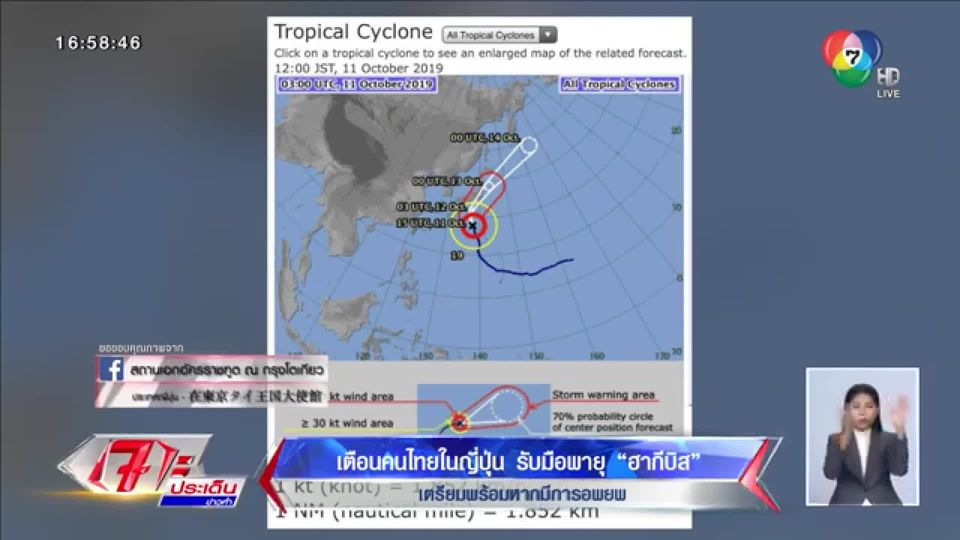 สถานทูตไทยเตือนคนไทยในญี่ปุ่นรับมือพายุฮากิบิส เตรียมพร้อมหากมีการอพยพ