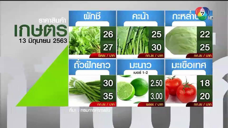 ราคาสินค้าเกษตรที่สำคัญ 13 มิถุนายน 2563