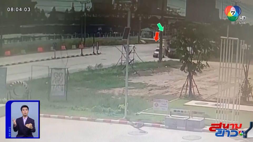ภาพเป็นข่าว : เผยนาทีระทึก รถกระบะตัดหน้ารถพ่วง จนเสียหลักพลิกคว่ำ