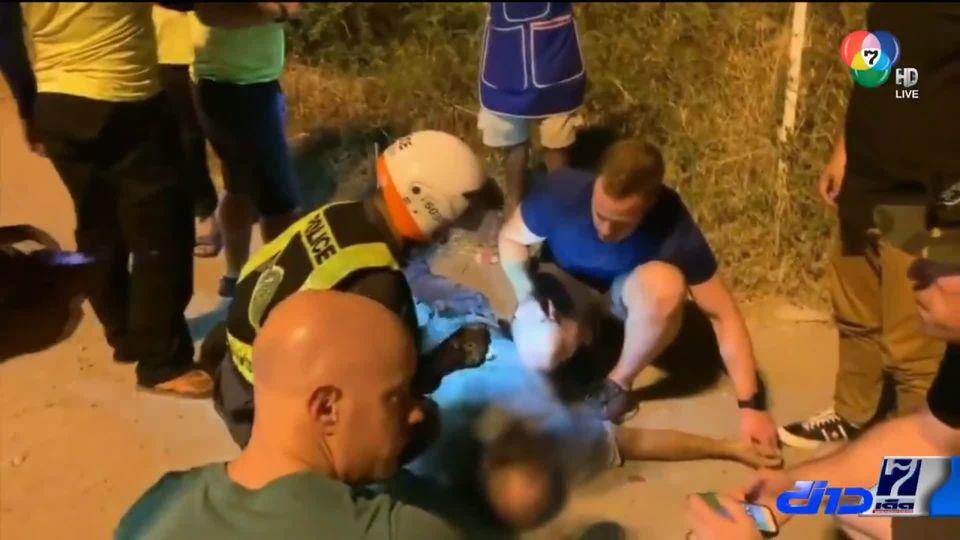 ไม่รอด!! ชายเสพไอซ์หนีด่านตรวจถูกรถชนบาดเจ็บ ที่ชลบุรี