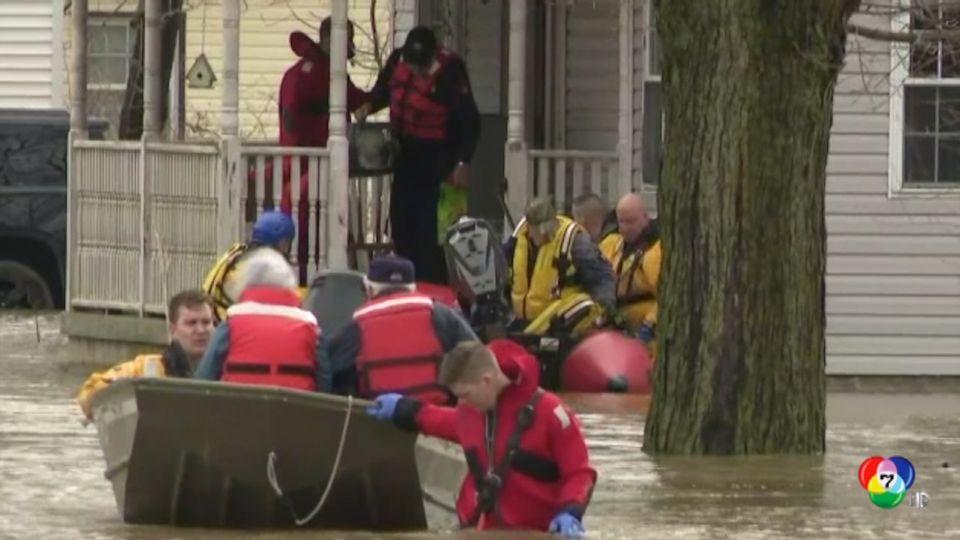 เกิดเหตุน้ำท่วมรุนแรงที่สหรัฐฯ หลังจากฝนตกหนักตลอดทั้งวัน
