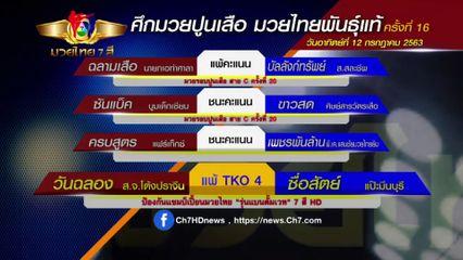 มวยเด็ด วิกหมอชิต : ผลมวยไทย 7 สี 12 ก.ค.63 วันฉลอง ส.จ.โต้งปราจีน vs ซื่อสัตย์ แป๊ะมีนบุรี